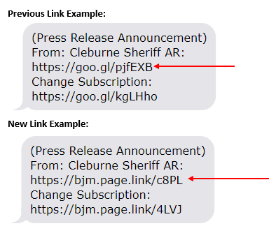 Screenshots of previous text alert link example compared to new text alert link example